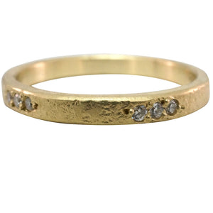 **18K Diamond Weathered Band** - KESTREL