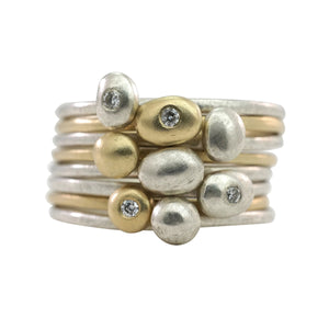 Silver Diamond Worry Stone Ring - KESTREL