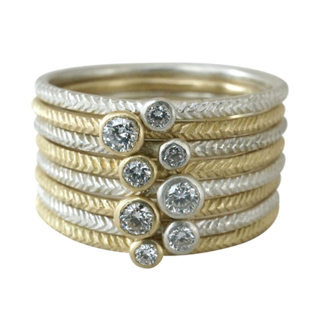 14K Feather Single Diamond Stack Ring