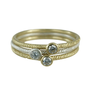 14K Feather Single Diamond Stack Ring - KESTREL