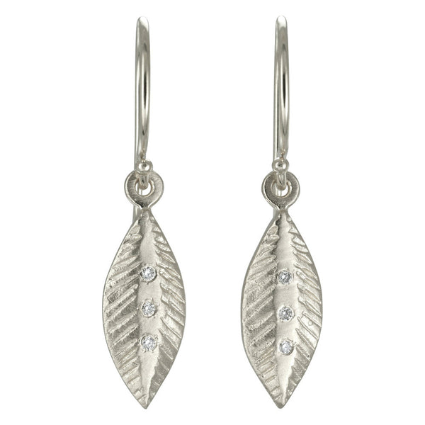 SS Diamond Leaf Earrings