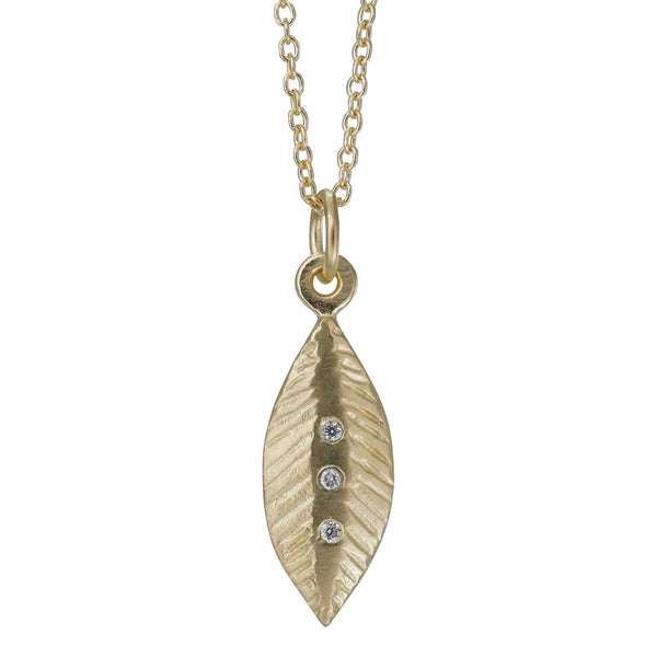 14k diamond feather necklace