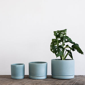 Siren Blue Round Planter