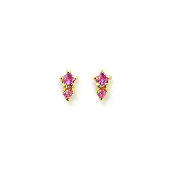 14k Double Pink Sapphire Studs