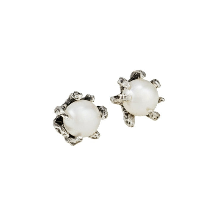 Claw Earrings With White Freshwater Pearl - KESTREL