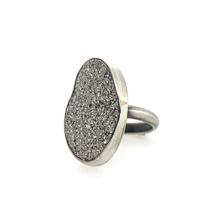 Large Oval Platinum Druzy Ring