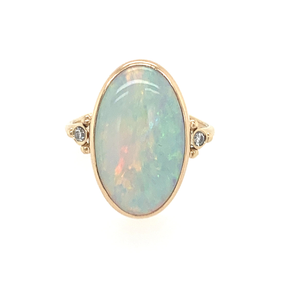 Oval Australian Opal Ring w/ Side Diamonds