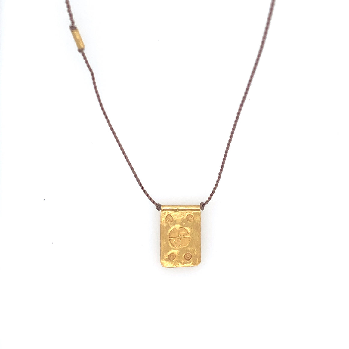 Rectangle Talisman Necklace on Brown Nylon
