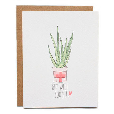 Get Well Soon Aloe Vera Blank Card