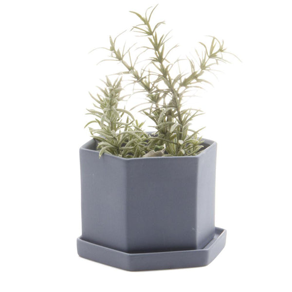 Hex Planter (Blue Grey)
