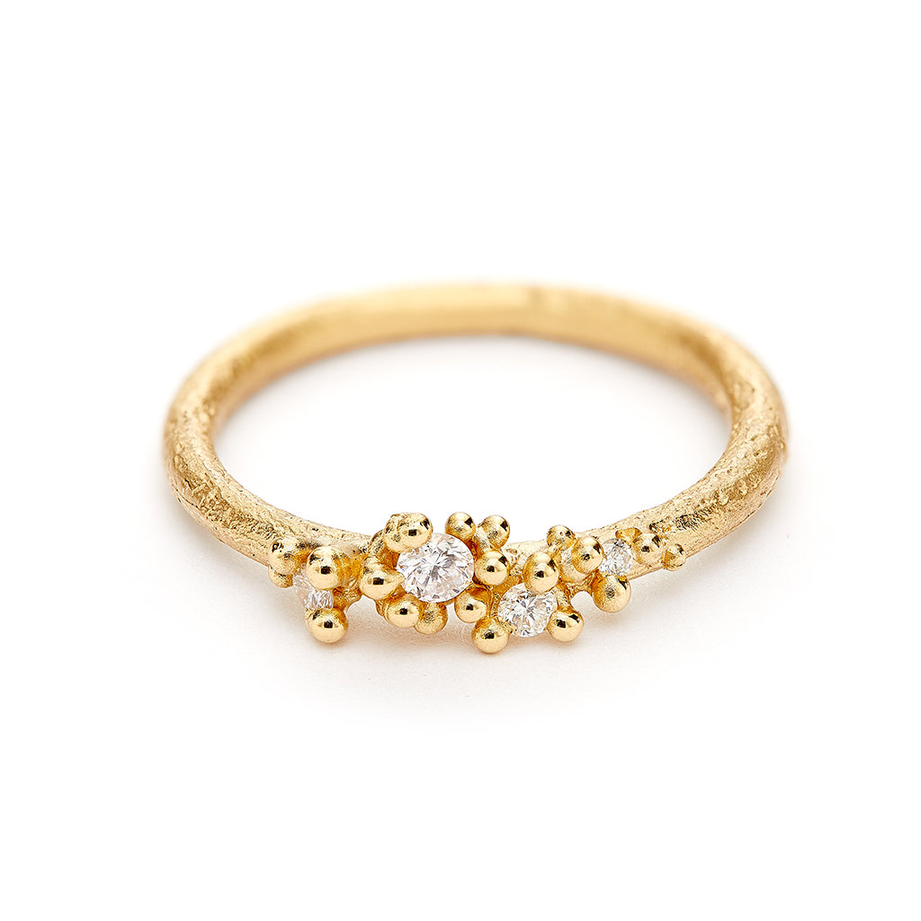 14k Assymetric Diamond Cluster Ring with Granules