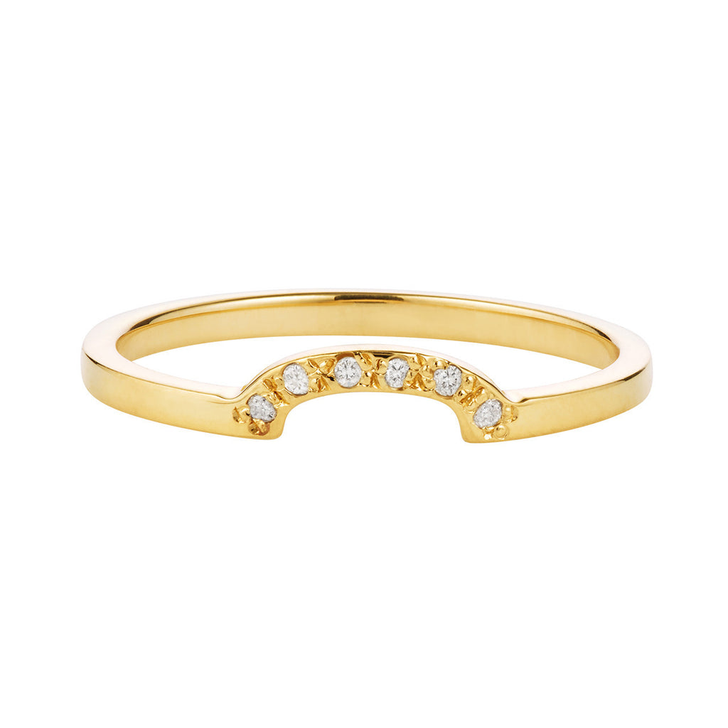 18K Half Moon Diamond Band