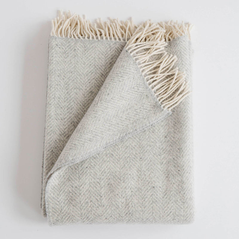 Merino/Cashmere Herringbone Throw - Fog - KESTREL