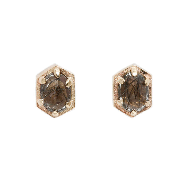 Hexagonal Black Quartz Studs - KESTREL