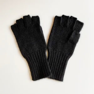 Cashmere Fingerless Gloves (Black)