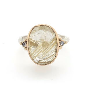 Rutilated Quartz Ring w/ Diamonds