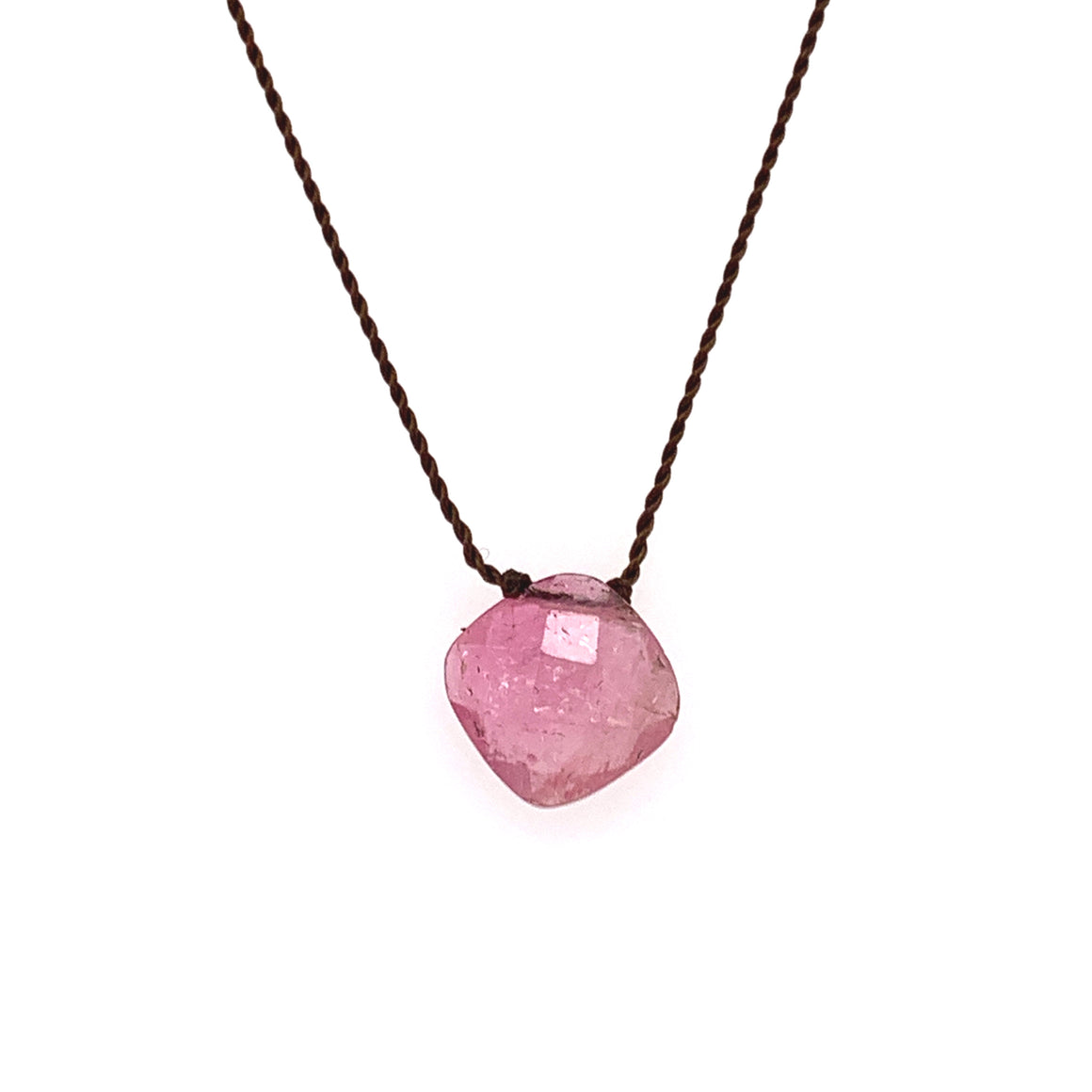 Faceted Droplet Necklace - Pink Tourmaline