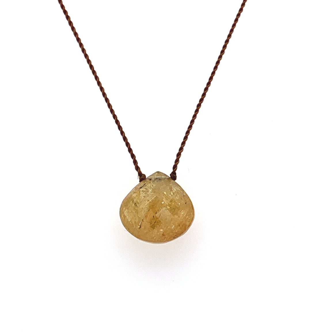 Faceted Droplet Necklace - Yellow Tourmaline