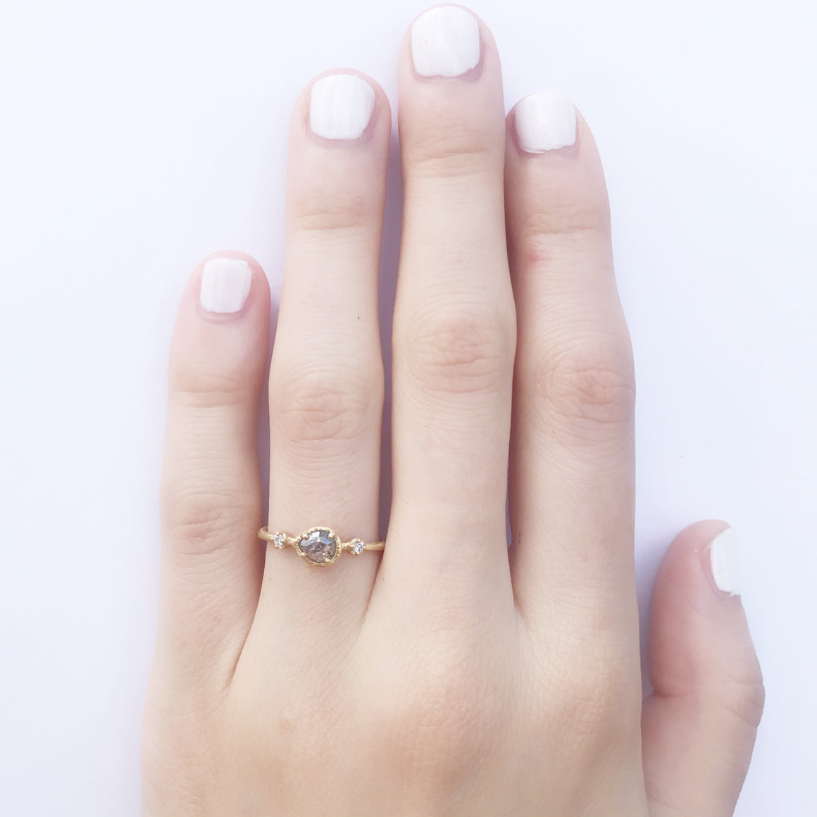 East-West Salt + Pepper Prong Ring