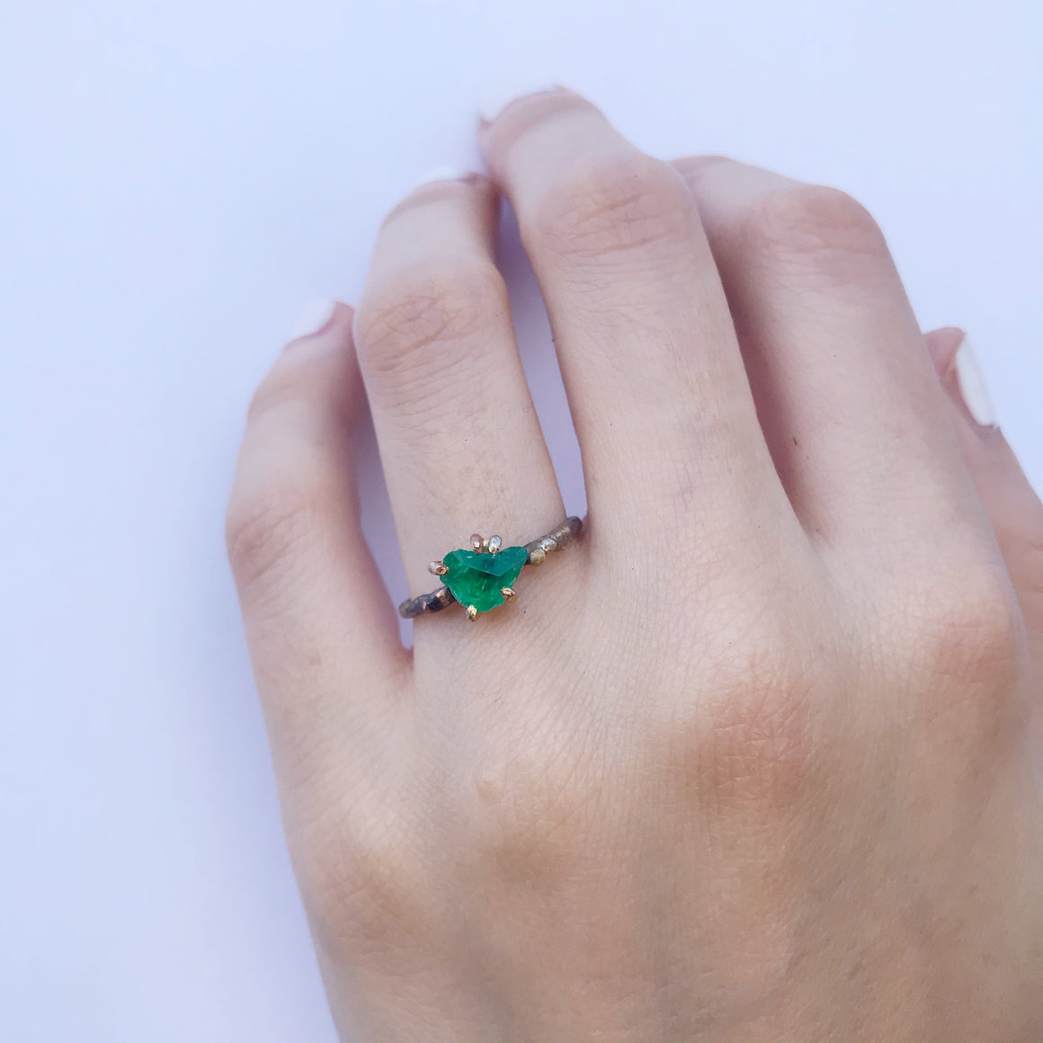 Zambian Emerald Claw Ring