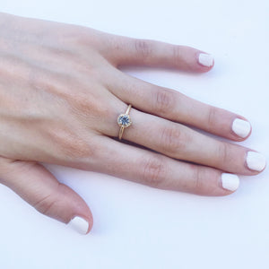 14K Grey Diamond Baby Halo Ring