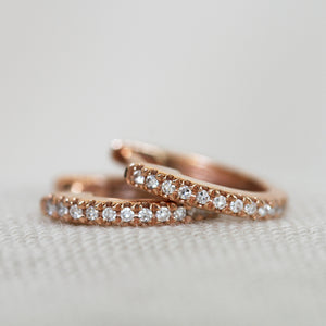 Rose Gold White Diamond Huggies - KESTREL