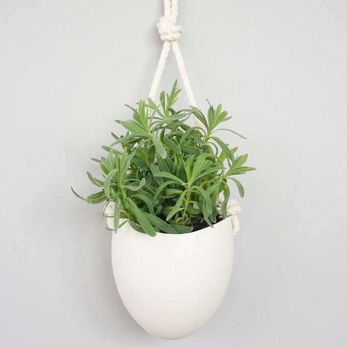 White Hanging Planter w/ Rope