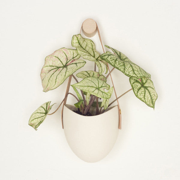 White Hanging Planter w/ Leather