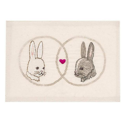 Embroidered Linen Love Bunnies Card Stationary