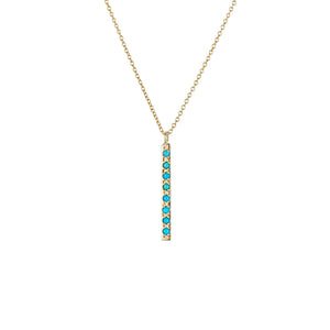 14K Turquoise Bar Necklace - KESTREL