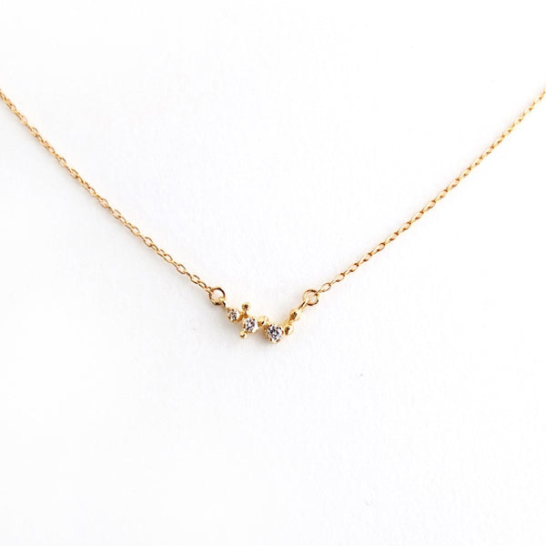 14k Mini Branch Necklace w/Three Diamonds