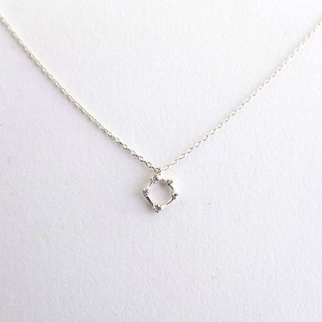 Sterling Five Diamond Circle Necklace