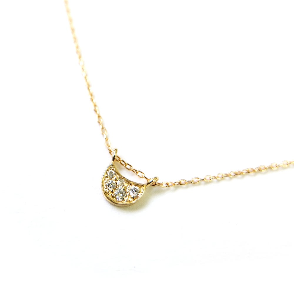 14K Diamond Crescent Moon Necklace - KESTREL