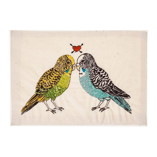 Embroidered Linen Parakeet Love Card Stationary