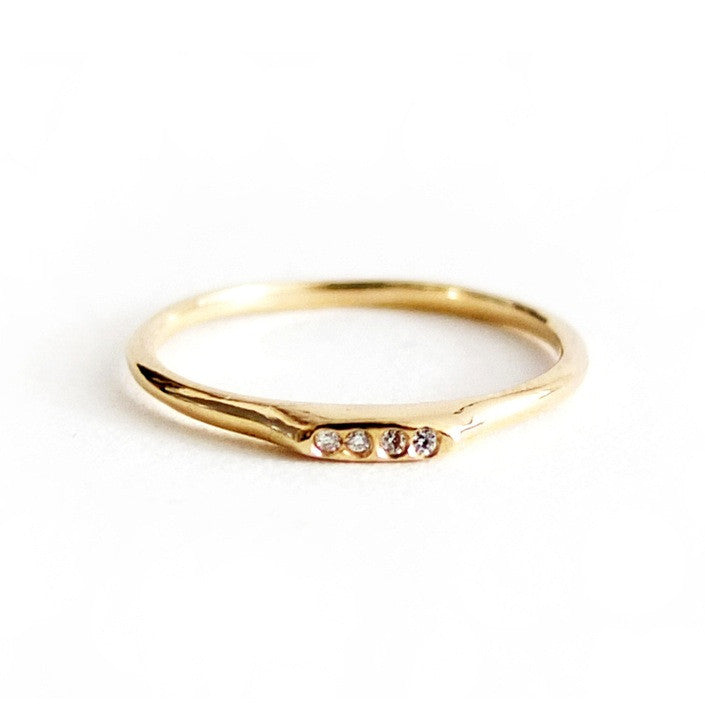 14K Plateau Ring w/ 4 Diamonds