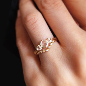 14k Rosecut Diamond Trilogy Ring - KESTREL
