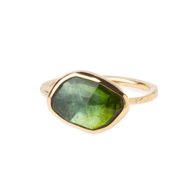 14K Green Bi-Color Tourmaline Ring