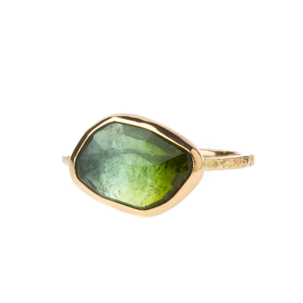 14K Green Bi-Color Tourmaline Ring - KESTREL
