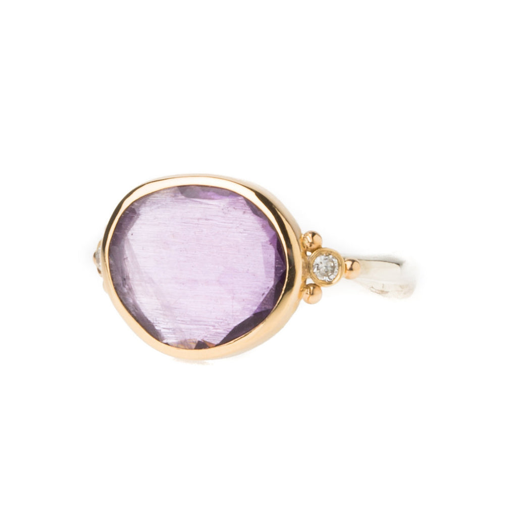 Amethyst Ring with Diamonds 14k Gold Silver Band