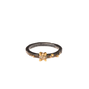 SS + 22K Diamond Solitaire Ring on Medium Square Band