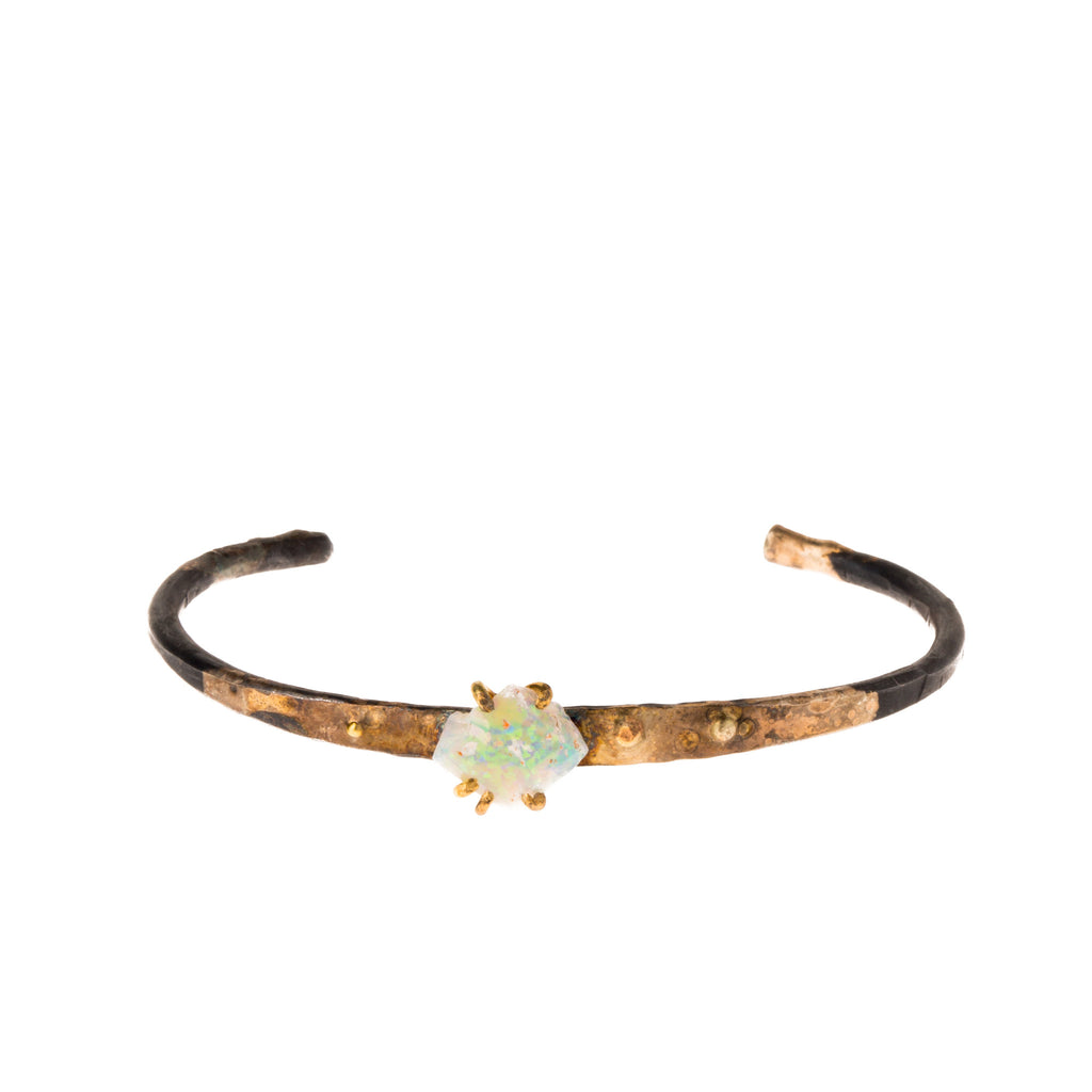 Silver and Gold Opal Cuff Bracelet