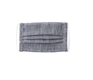 Linen Kids Face Mask - Black/Check