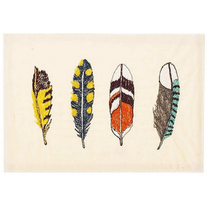 Feathers Embroidered Card - KESTREL