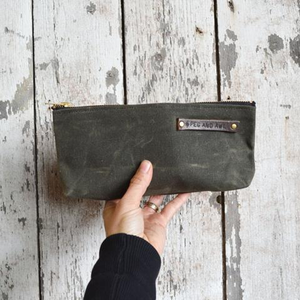 Waxed Canvas Pouch Moss