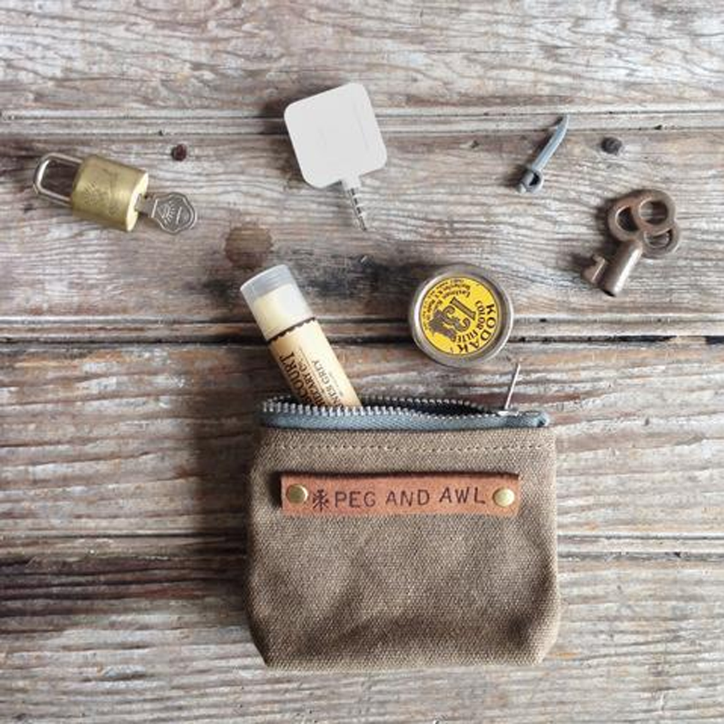 Peewee Waxed Canvas Pouch Truffle