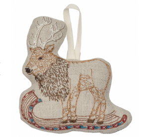 Elk on Toboggan Ornament