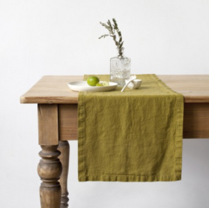 Linen Table Runner - Moss Green