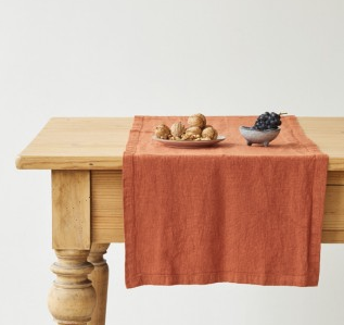 Linen Table Runner - Baked Clay
