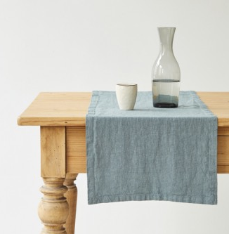 Linen Table Runner - Blue Fog