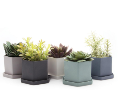 Hex Planter (Light Grey)